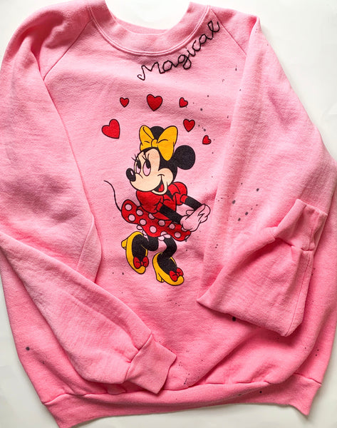 One-of-a-kind faded pink vintage minnie sweatshirt