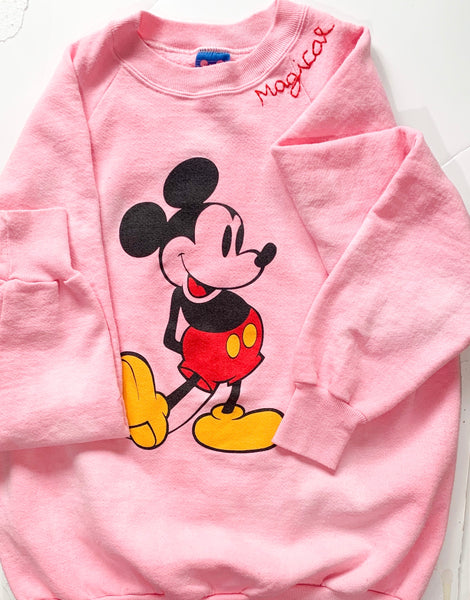 One-of-a-kind faded pink tie dye vintage mickey sweatshirt ADULT LARGE