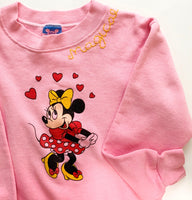 One-of-a-kind kids faded pink vintage minnie sweatshirt KIDS LARGE 10-12 OR WOMENS XS