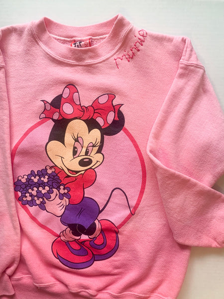 One-of-a-kind faded pink vintage minnie sweatshirt ADULT SMALL