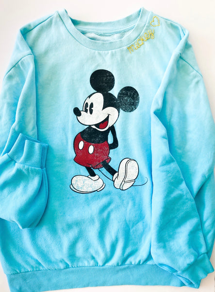 Adult Small One-of-a-kind kids vintage Mickey sweatshirt in faded blue