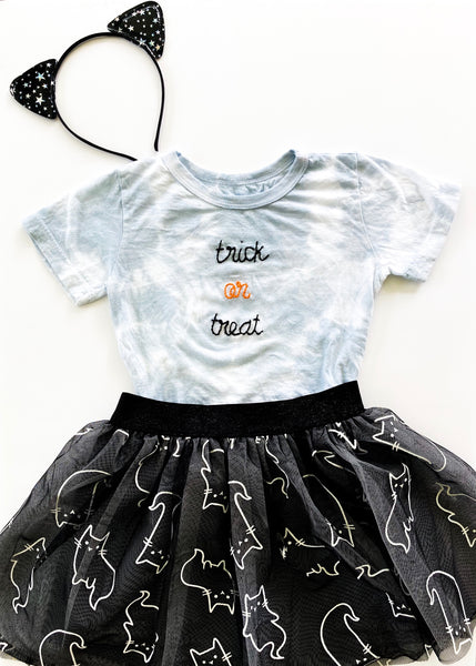 PREORDER - Kid's Trick Or Treat Grey Tie Dye Tee