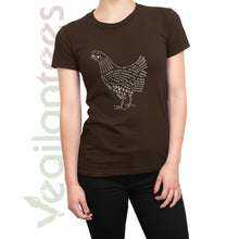 Load image into Gallery viewer, Compassion for Chickens Vegan T (White Print on Ladies Brown Shirt)