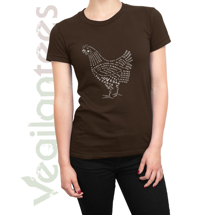 Compassion for Chickens Vegan T (White Print on Ladies Brown Shirt)