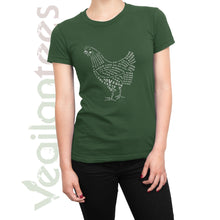 Load image into Gallery viewer, Compassion for Chickens Vegan T (White Print on Ladies Green Shirt)