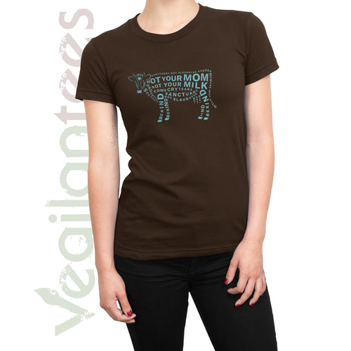 Compassion for Cows Vegan T (Blue Print on Ladies Brown Shirt)