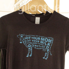 Load image into Gallery viewer, Compassion for Cows Vegan T (Blue Print on Ladies Brown Shirt)