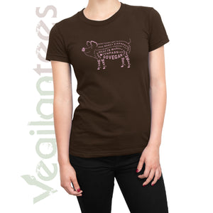 Compassion for Pigs Vegan T (Pink Print on Ladies Brown Shirt)
