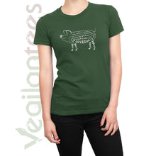 Load image into Gallery viewer, Compassion for Pigs T Vegan (White Print on Ladies Olive Green Shirt)