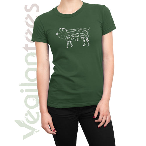Compassion for Pigs T Vegan (White Print on Ladies Olive Green Shirt)