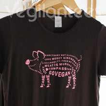 Load image into Gallery viewer, Compassion for Pigs Vegan T (Pink Print on Ladies Brown Shirt)