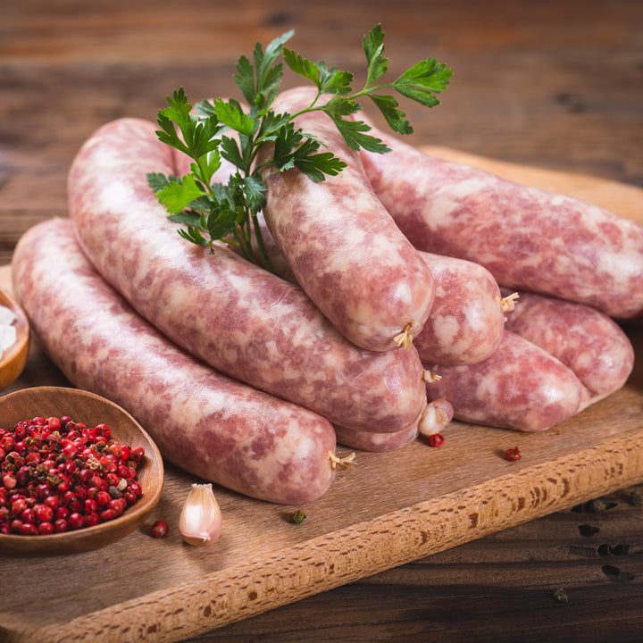 Free range Tamworth pork sausages (made with gluten free ingredients)