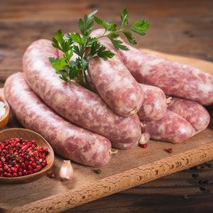 Free range wild boar sausages with thyme and apple