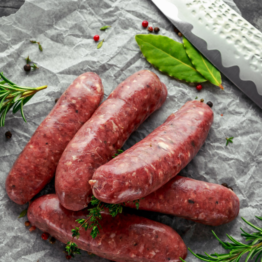 Grass fed beef gluten free sausages 6 pack