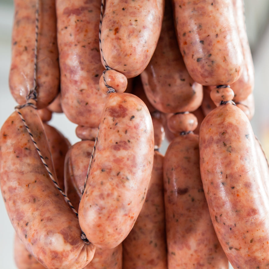 Free range Tamworth pork prune and cognac cocktail sausages