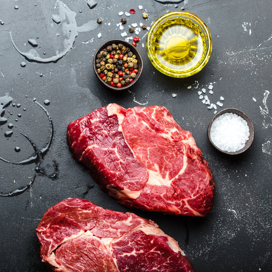 Grass fed beef rib eye steak