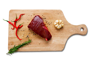 Grass fed beef heart sliced