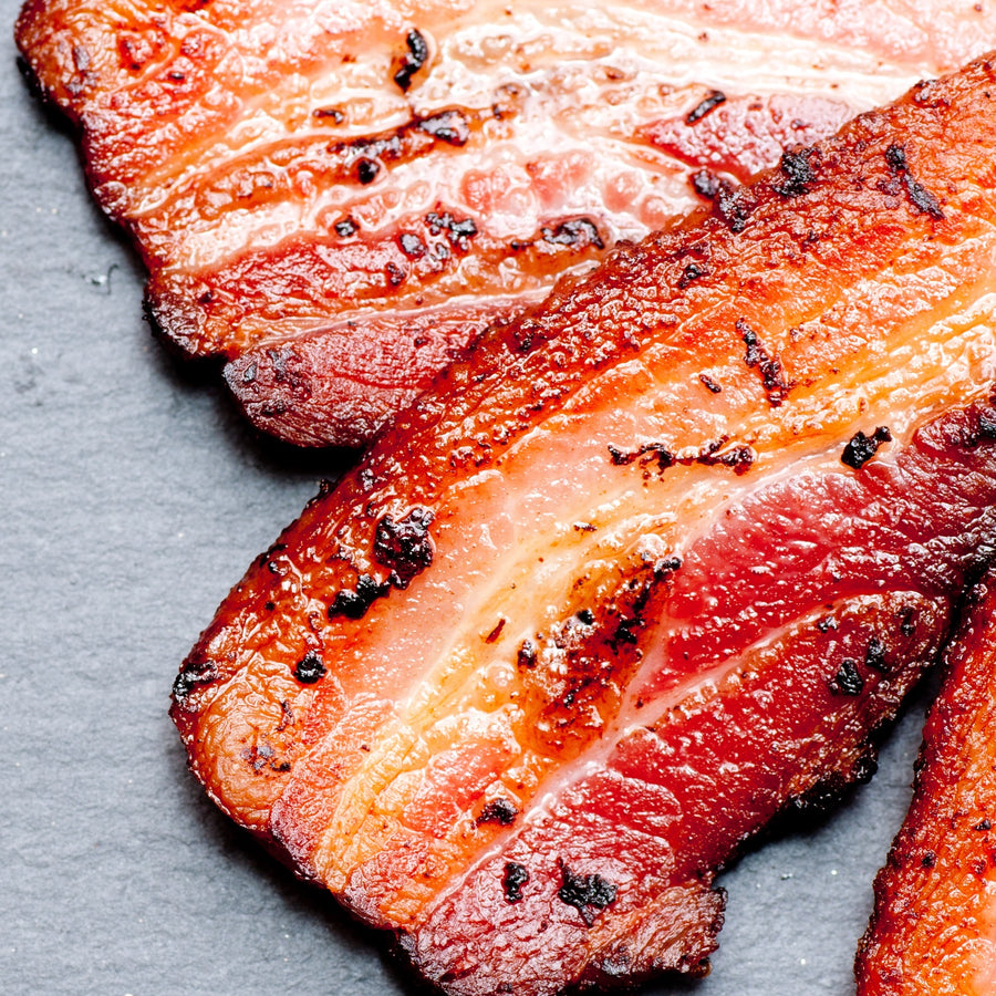 Bacon, Free range Tamworth streaky bacon dry cured unsmoked