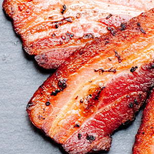 Bacon, Free range Tamworth streaky bacon dry cured unsmoked 6 Pack