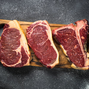 Grass fed beef T bone (750 g), Ribeye (450 g) and Sirloin (450 g) Sharing Steak box for 6