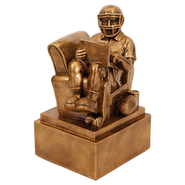 "Fantasy Football! 9"" Antique Gold Fantasy Football Man In Chair"