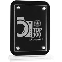 Black Floating Glass Stand Up Plaque