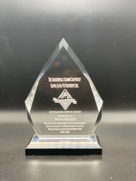Diamond Acrylic Award on Black Pedestal Base