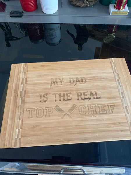 "15"" x 10 1/4"" Bamboo Cutting Board with Butcher Block Inlay"