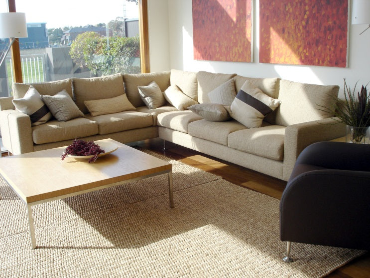 contemporary living room with an area rug