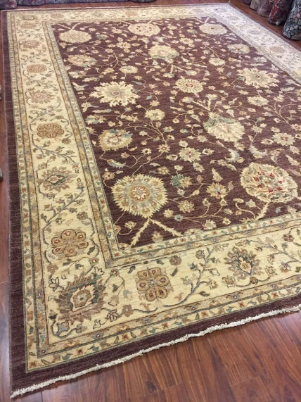 handmade Persian rug on hardwood floor