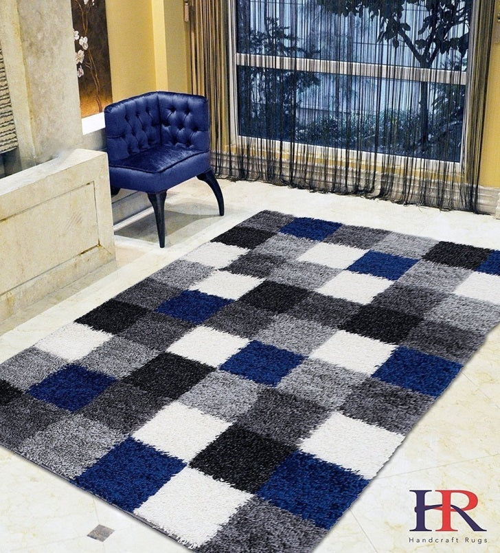 blue, black, white and gray checkered area rug