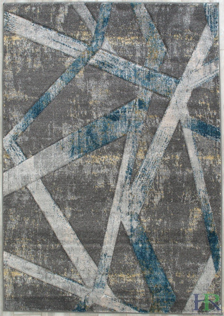 Modern Faded Distressed Geometric Floral Contemporary Area Rugs-Blue /Gray/Fossil/Ivory/Slate