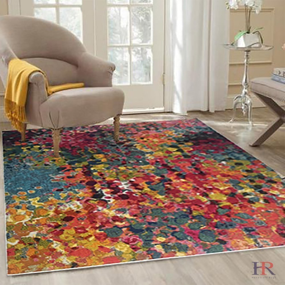HR MODERN ABSTRACT CONTEMPORARY CHERRY RED GREEN AND MULTI COLOR WOVEN AREA RUG (5 feet by 7 feet)