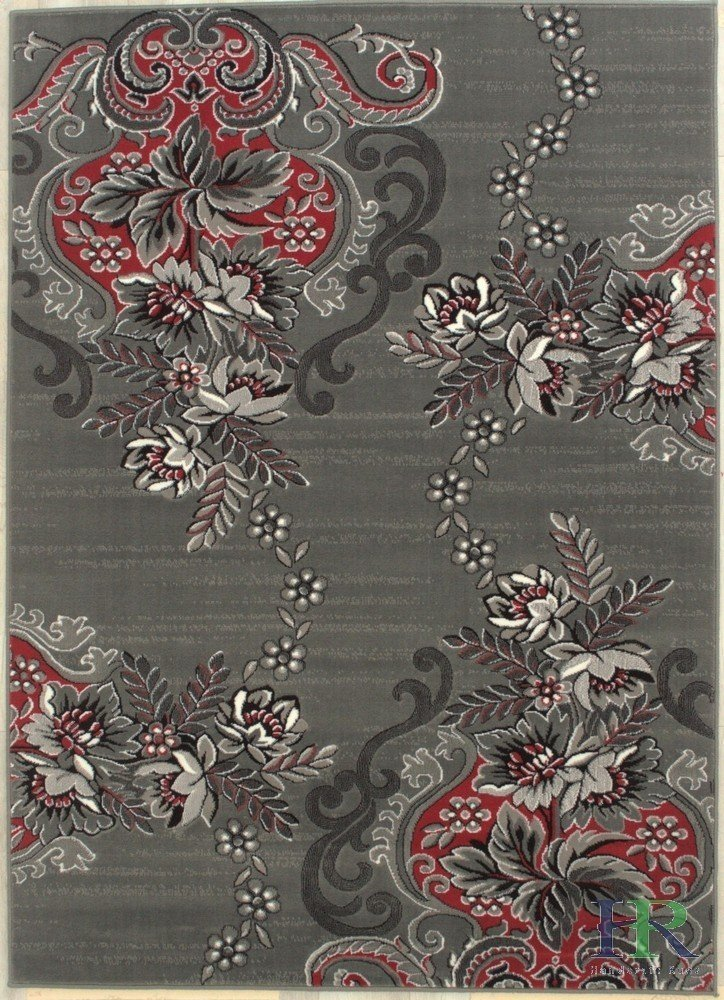 Lava/Grey/Silver/Black/Abstract Area Rug Modern Contemporary Floral and Swirlls Design Pattern