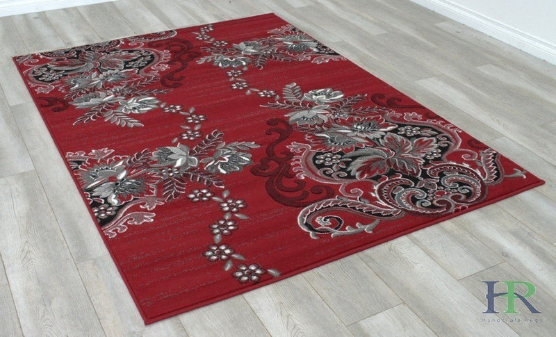 Red/Grey/Silver/Black/Abstract Area Rug Modern floral