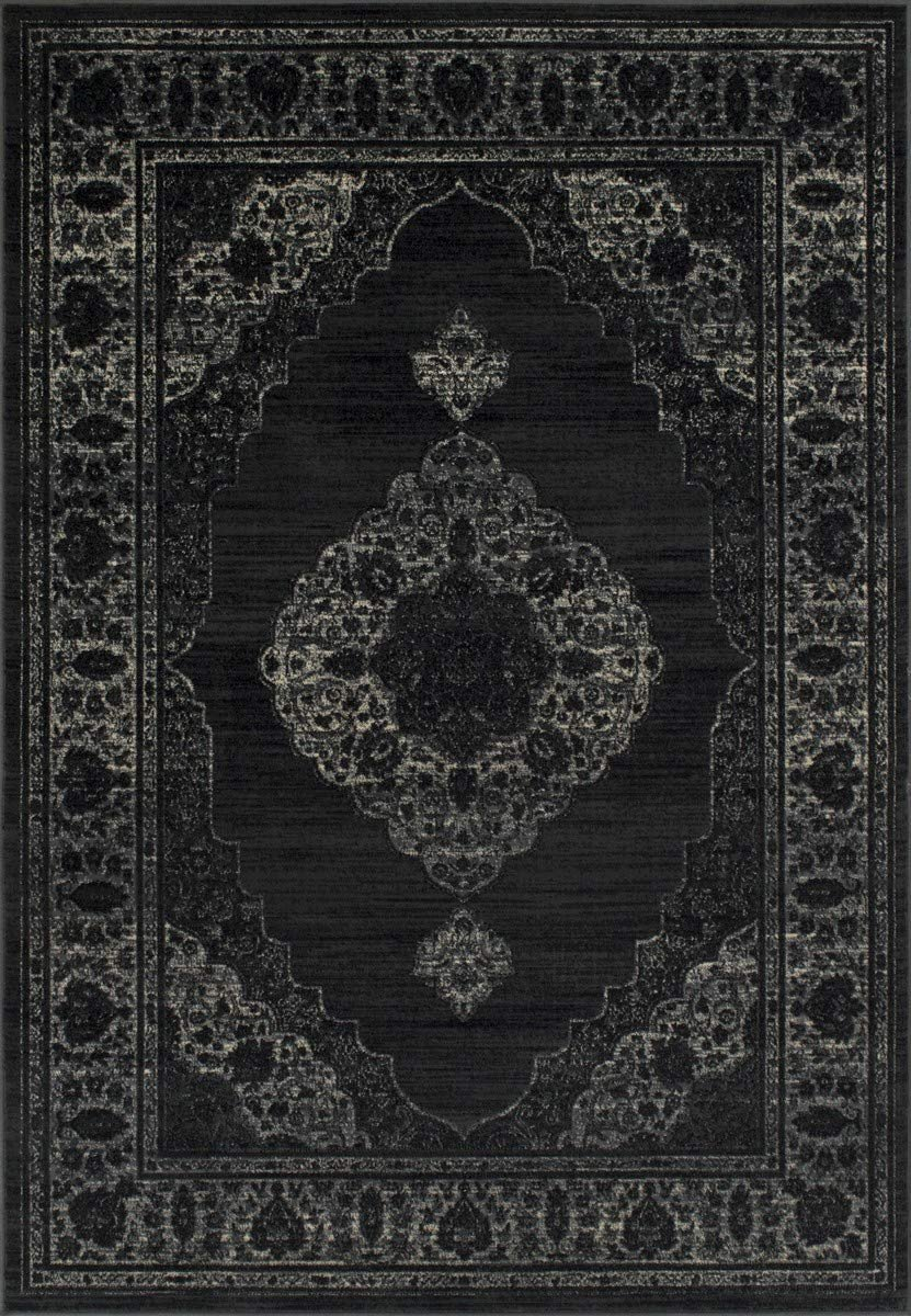 Gray/Black-Persian Tabriz Floral Pattern Distressed – Modern Vintage Area Rug