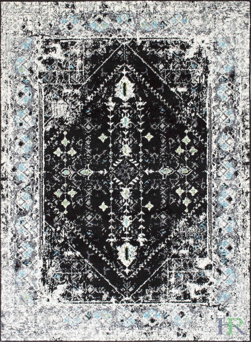 Turquoise/Black/White/Charcoal -Faded, Oriental Distressed Area Rug Vintage Persian Area Rug Abstract, Floral Kashan