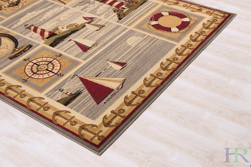 Lodge, Cabin Sailing Accent Area Rug – Modern Geometric Design Cabin Area Rug – Abstract, Beige/Multicolor Design– Lighthouse/Anker/Sailing Boats/Compass