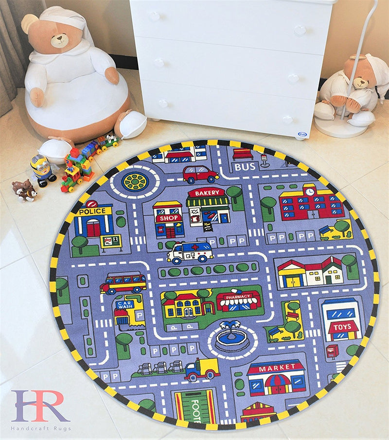 Handcraft Rugs-Grey Kids Rugs. Driving Skills/Play Time Race Track Road Rug. Rubber Back/ Non-Slip. Ideal for Classroom/Kids Room. 7 ft. Round.