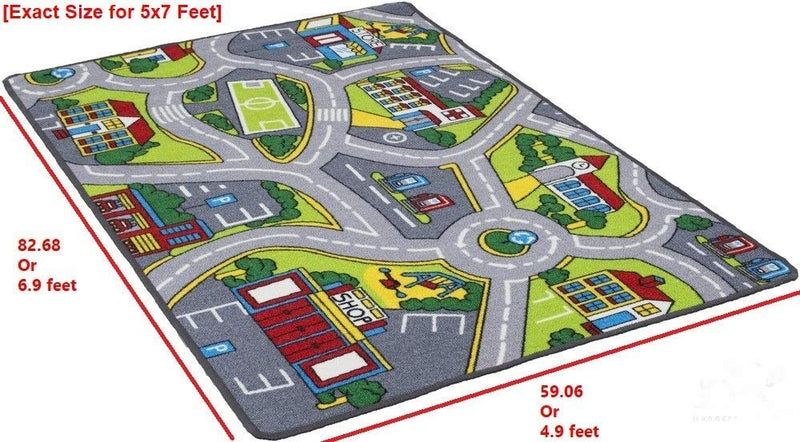 Kids Car Road Rugs City Map Play mat for Classroom/Baby Room Non-Slip Rubber Back