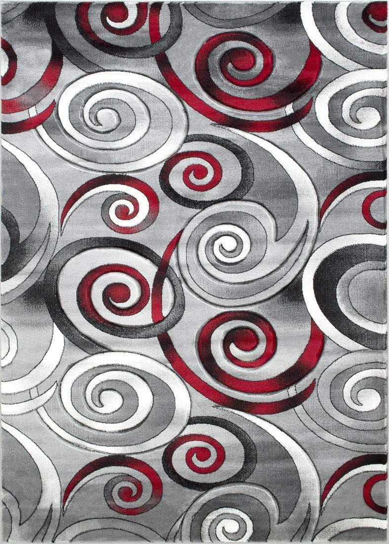 Spiral/Swirls Modern Contemporary Hand Carved Area Rug-Silver/Lava Red/Gray/Black