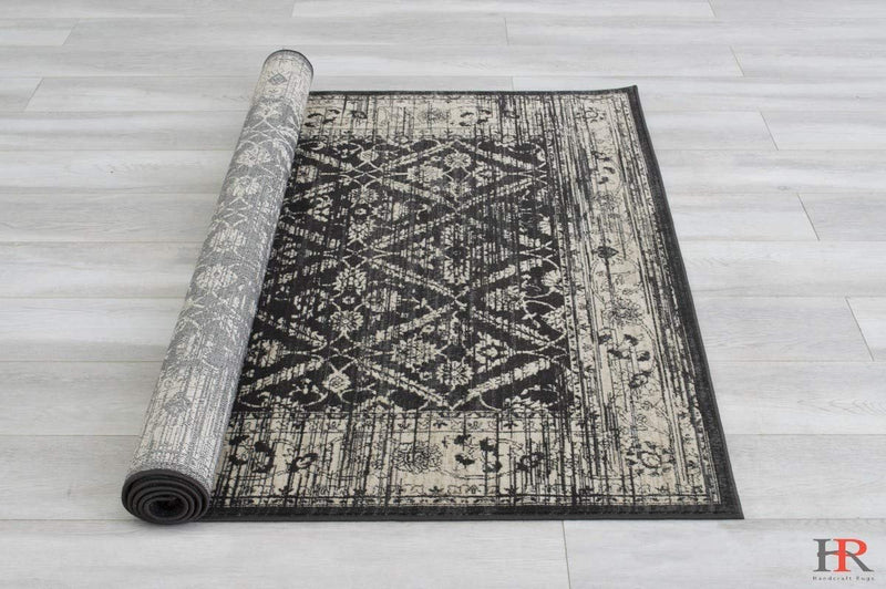 Beige/Black Persian Zigler Allover Pattern Distressed – Modern Vintage Area Rug