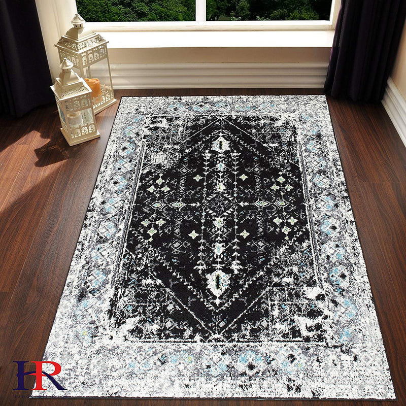 Grey/White/Black -Faded, Distressed Area Rug Splash Pattern Area Rug Abstract