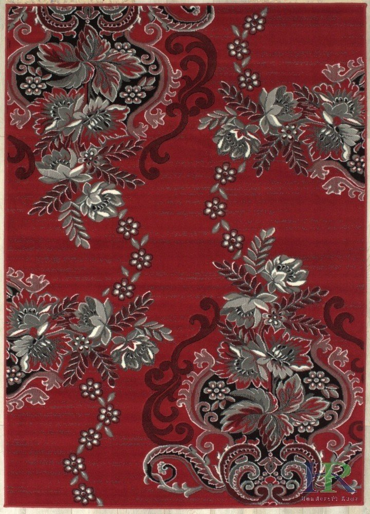 Red/Grey/Silver/Black/Abstract Area Rug Modern Contemporary Floral and Swirlls Design Pattern
