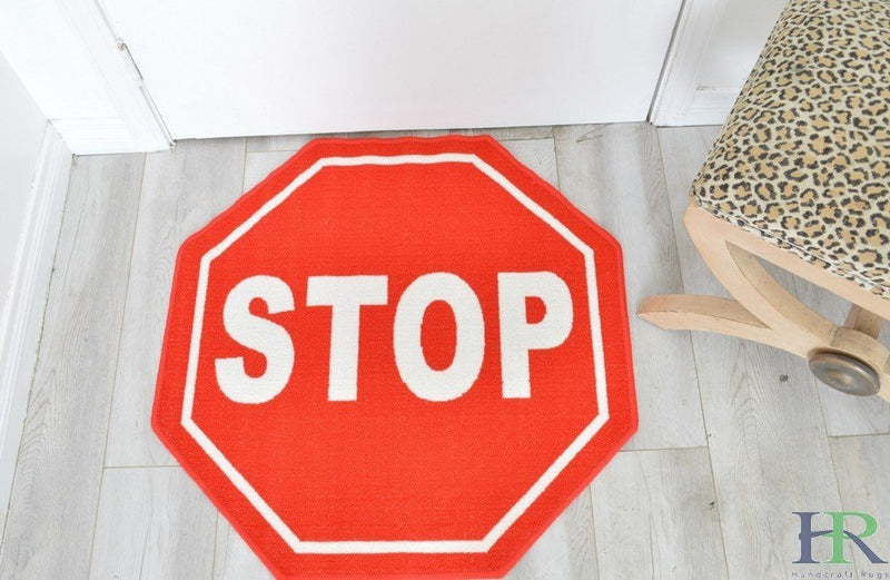 Stop Sign Non-Slip Doormat / Mat For Office and Room and Driving School - 3 feet by 3 feet