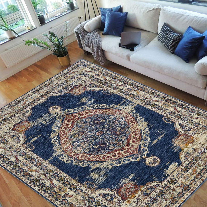 Vibrant Traditional Persian Area Rug-Black/Turquoise/Green/Multi