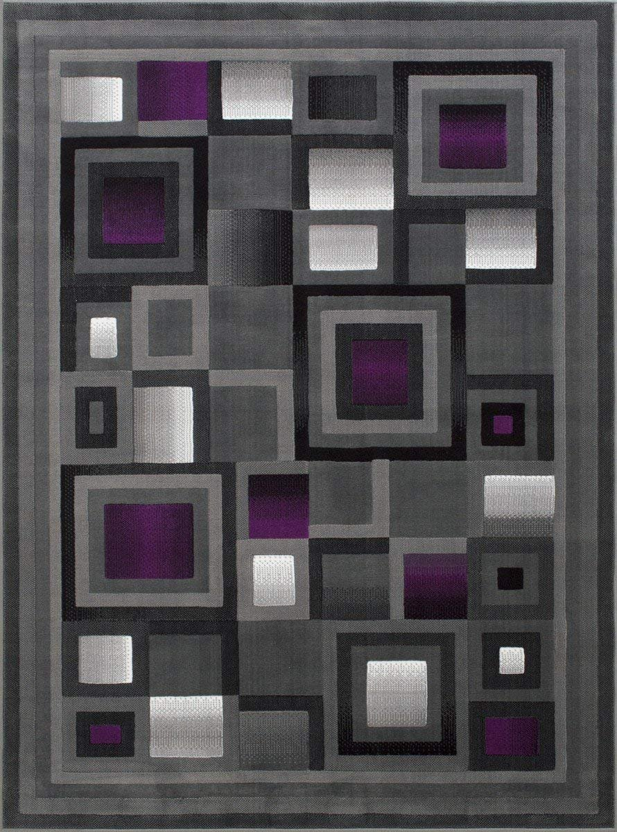 Handcraft Rugs Purple and Gray Abstract Geometric Modern Squares Pattern Area Rug