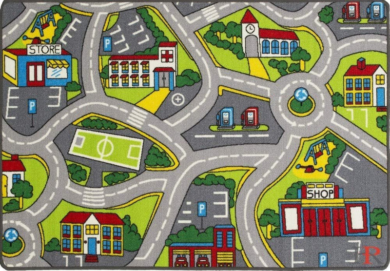 Handcraft Rugs-Dream land driving cars play-mat Pink/Green and Multi-Color Anti Slip Rug/Game Carpets for Kids/Kids Toy/Kids learning rug/Kids Floor Rug (5 by 7 feet)