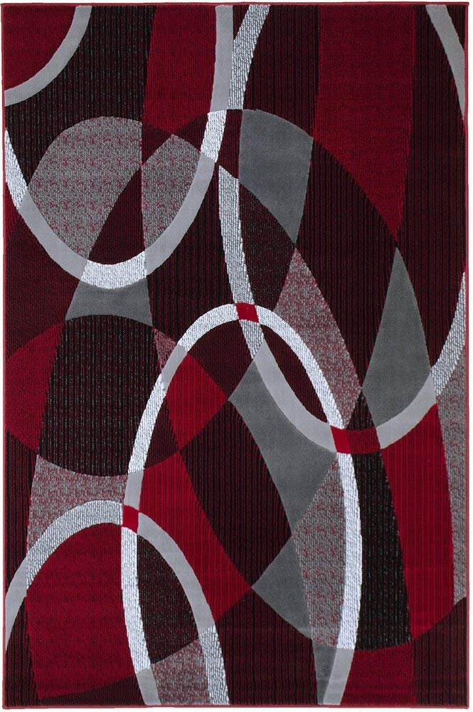 Red/Grey/ Silver/Black/ Abstract Contemporary Modern Design Oval and Circle Pattern Area Rug