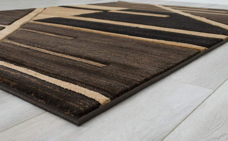 Monochromatic Rug/Linier Design Modern Contemporary Hand Carved Area Rug-Chocolate/Beige/Black
